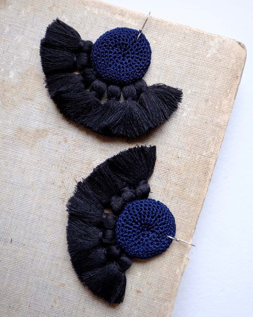 Hamimi Earrings - Midnight Blue & Black