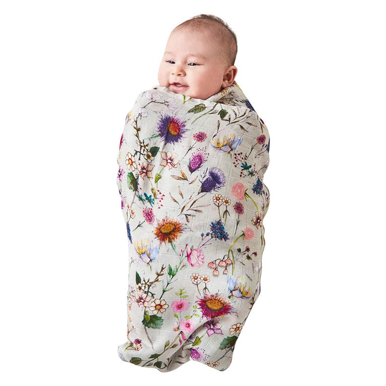 Bouquet Cream Bamboo Baby Swaddle