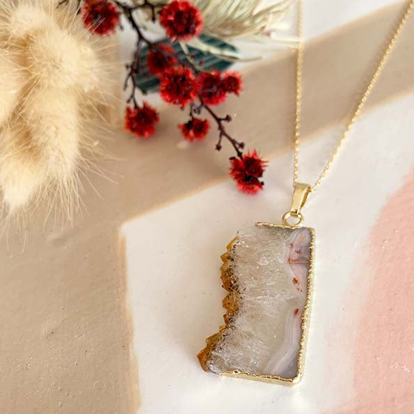 Citrine in Quartz Slice Pendant Necklace