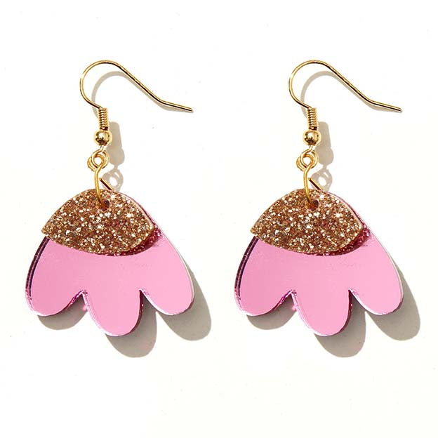 Elle Earrings Pink Mirror & Gold Glitter - Emeldo