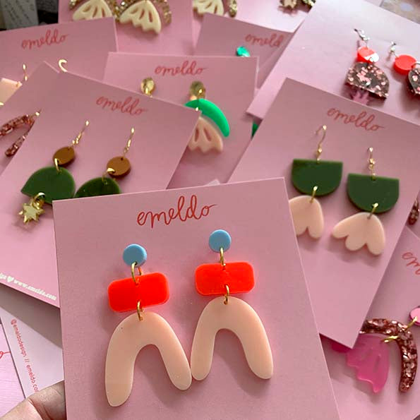 Bambi Pale Pink and Olive Green Earrings - Emeldo