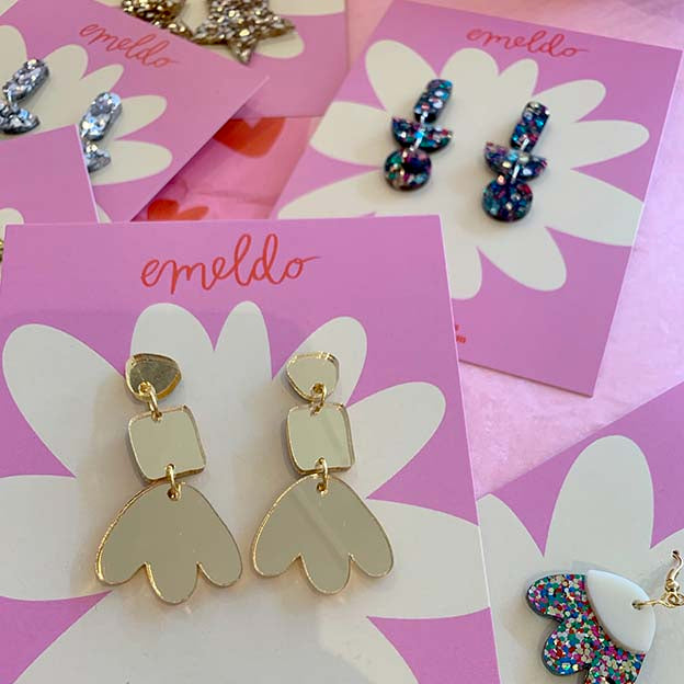 Elle Earrings Rainbow Glitter & Cream - Emeldo