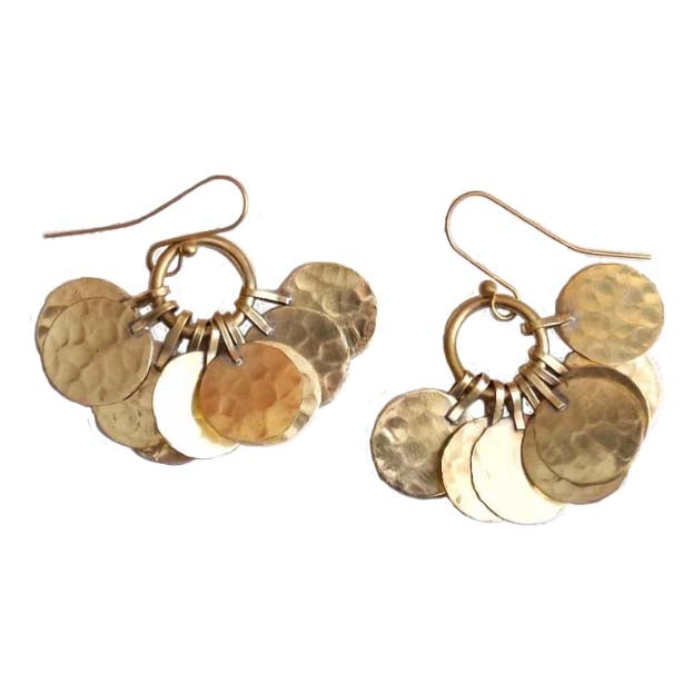 Brass Cluster Earrings