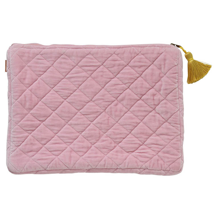 Guava Pink Velvet Quilted Laptop Case