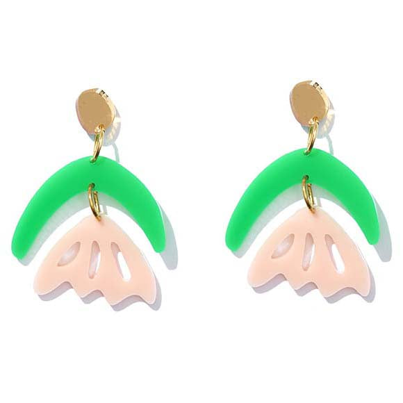 Arlie Green, Pink and Gold Mirror Earrings - Emeldo