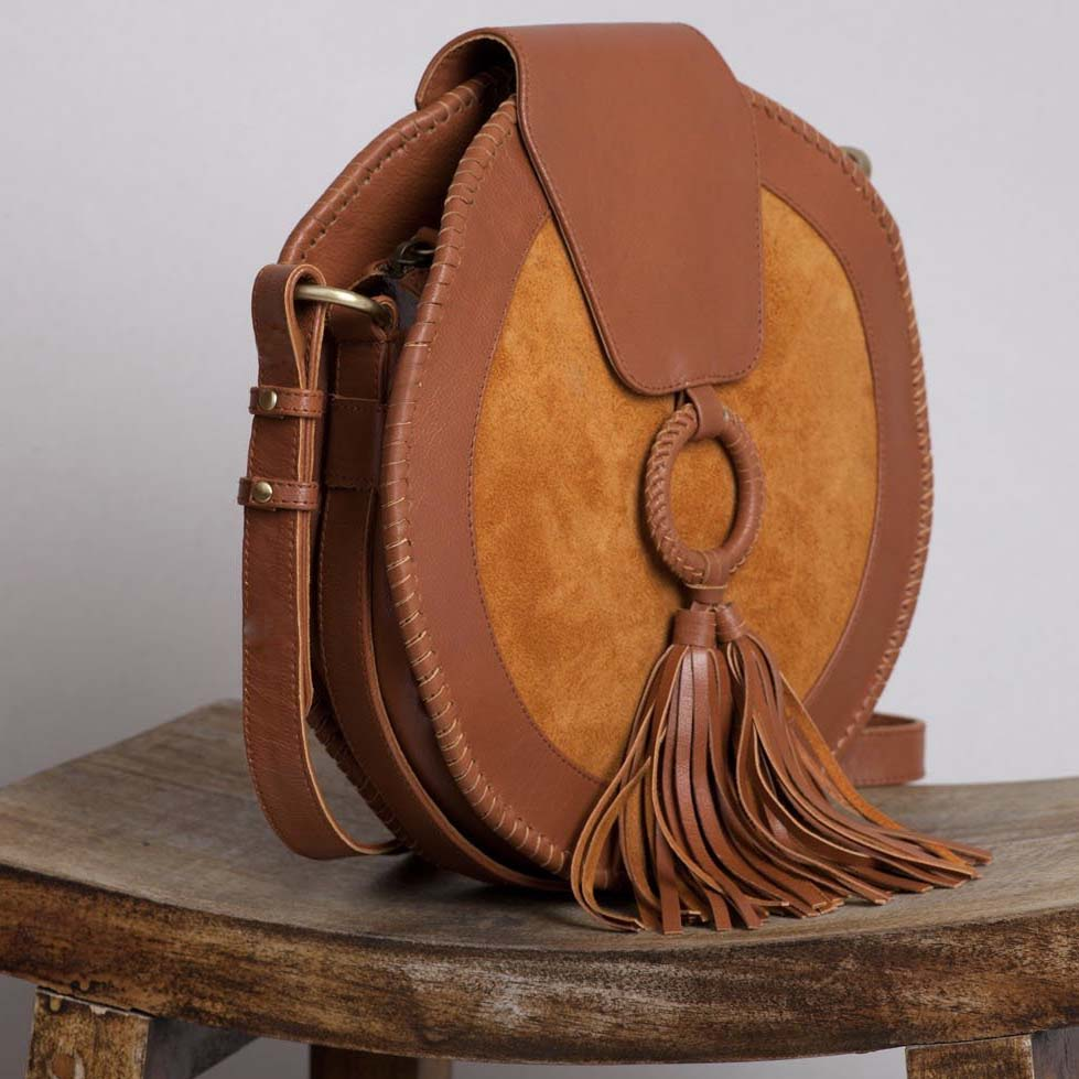 Harlequin Leather Round Bag – Chestnut