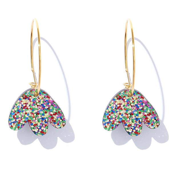 Heidi Hoops - Rainbow Glitter on Gold Earrings - Emeldo