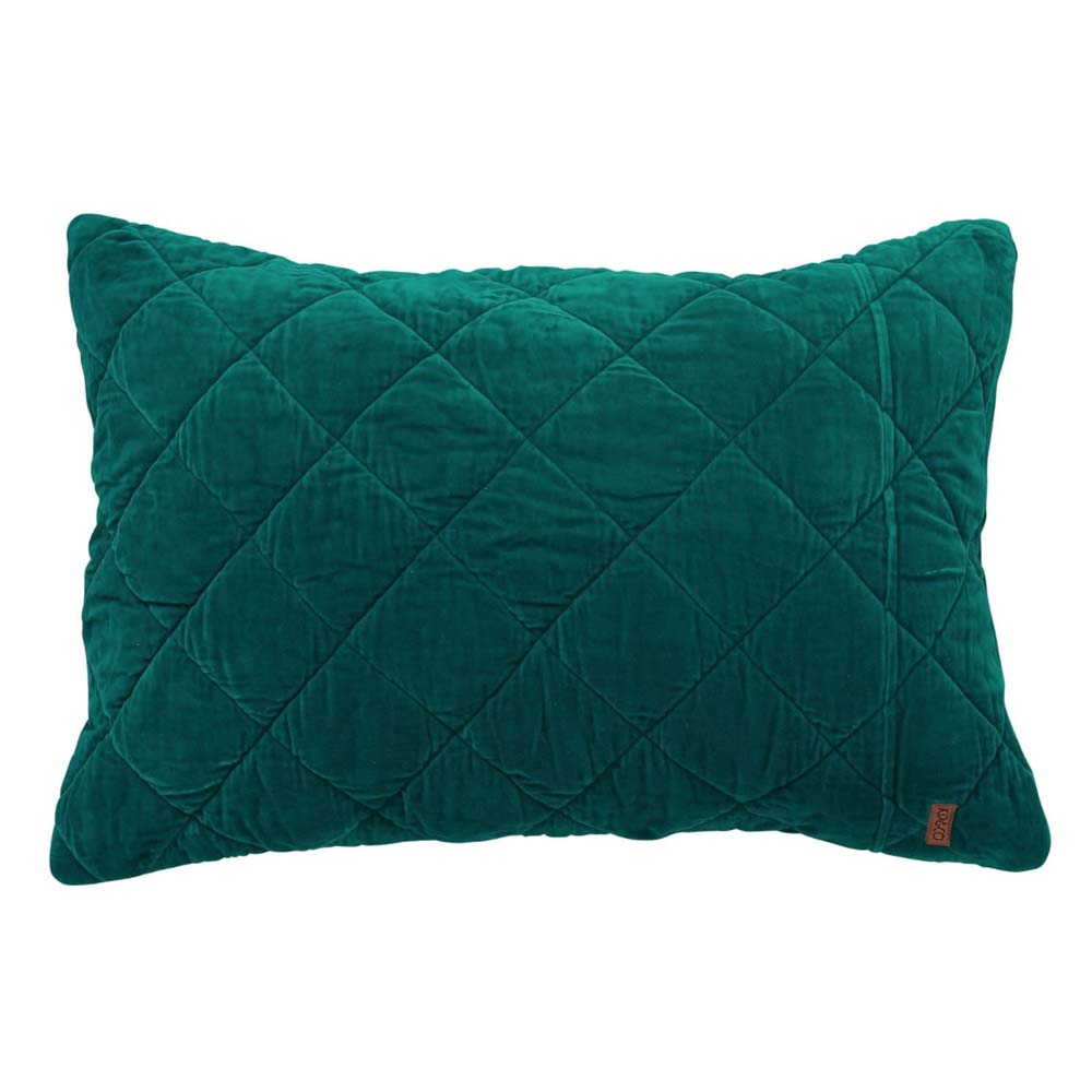 Jade Green Velvet Quilted Pillowcase Set