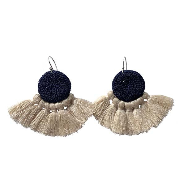 Midnight Blue and Beige - Crochet Earrings