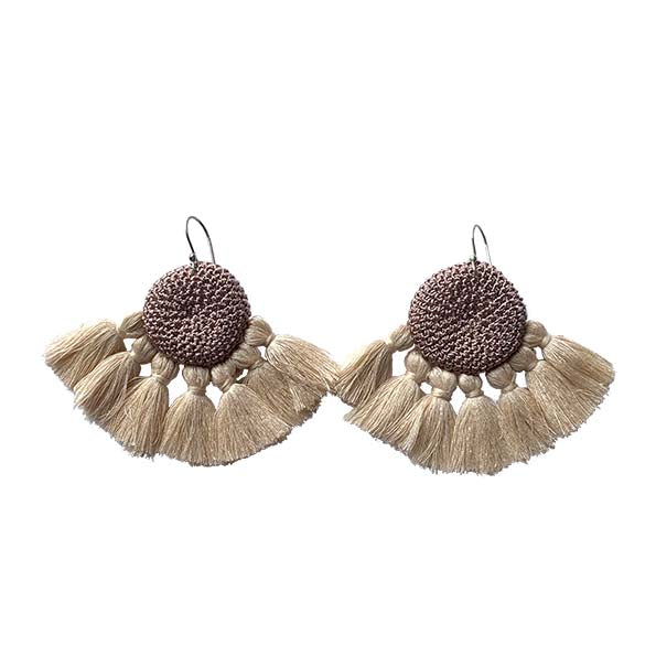 Mink & Beige - Crochet Earrings
