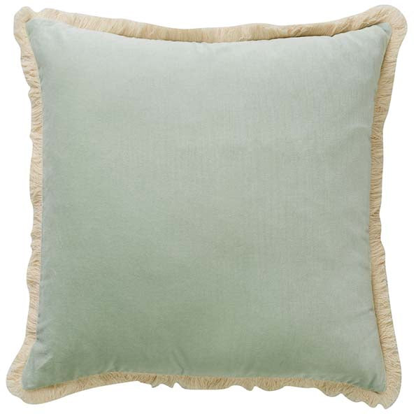 Velvet Tuscan Fringe Cushion - Mint