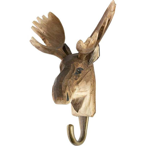 Moose Carved Animal Hook