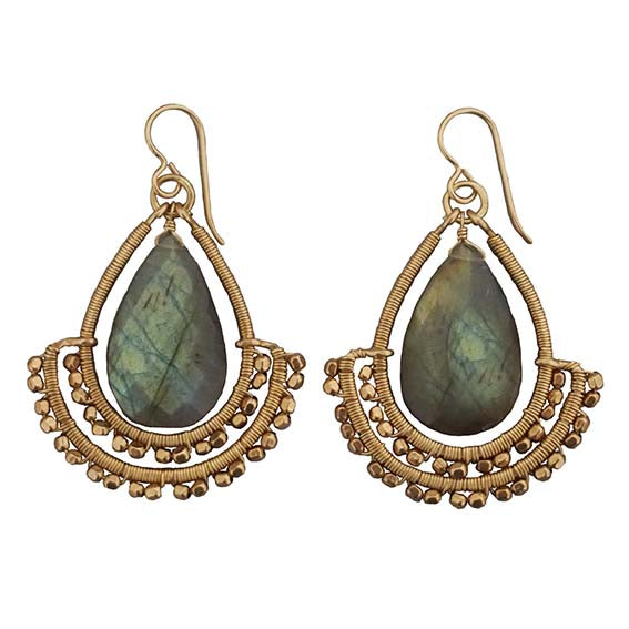 Goddess Labradorite Tear Earrings