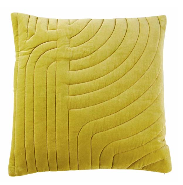 Rigny Velvet Quilted Sham Cushion - Pear