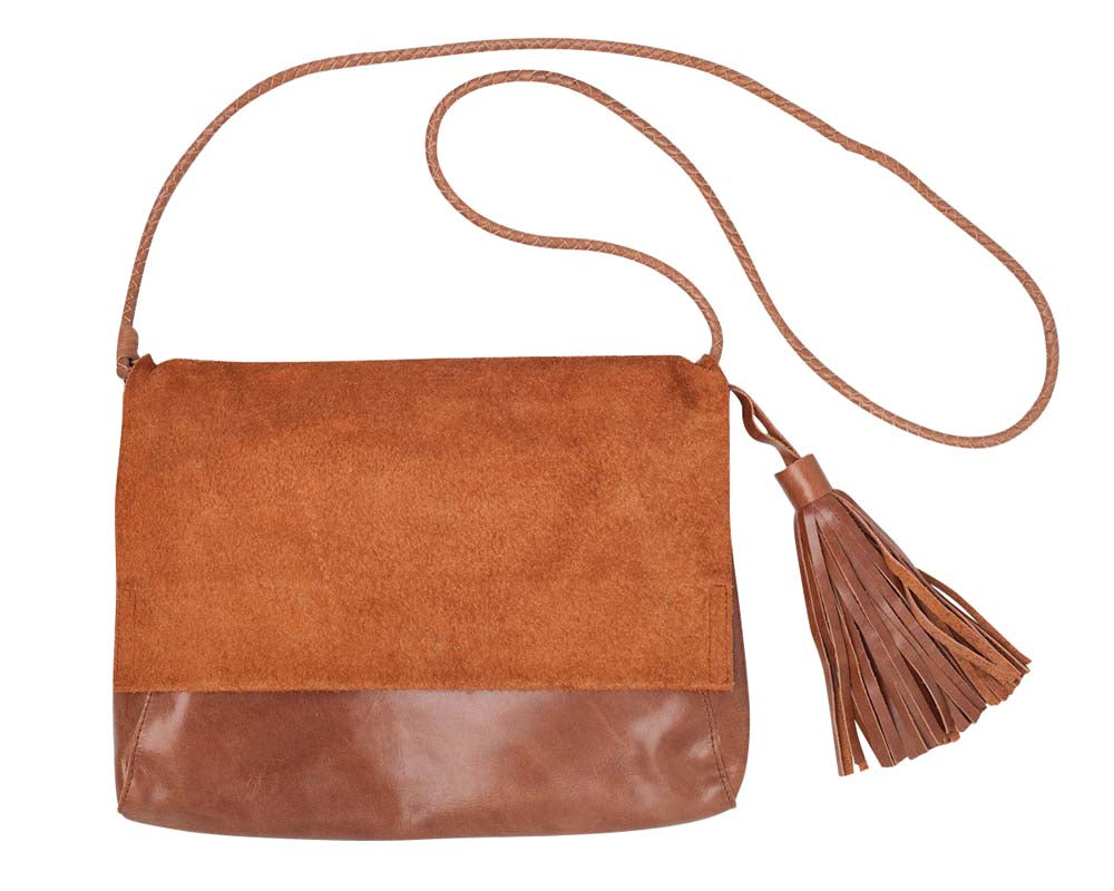 Perla Suede Leather Bag – Walnut