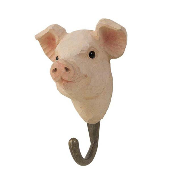 Pig Carved Animal Hook