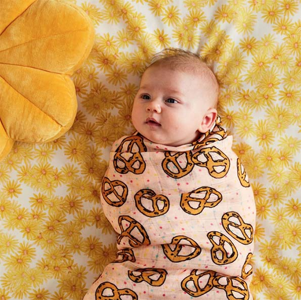 Pretzel Pink Bamboo Baby Swaddle