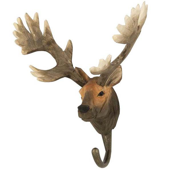 Red Deer Carved Animal Hook