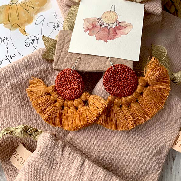 Rust & Turmeric - Crochet Earrings