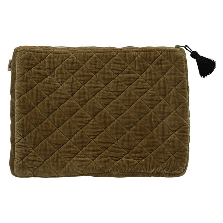 Scorched Almond Velvet Quilted Laptop Case
