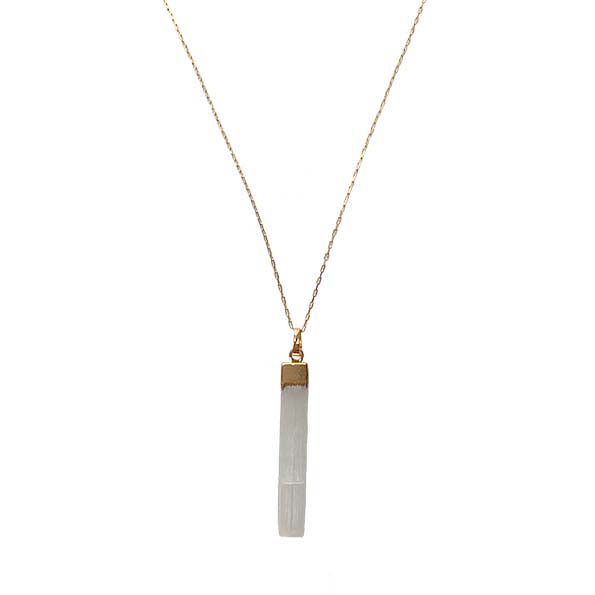 Slender Selenite Pendant Necklace