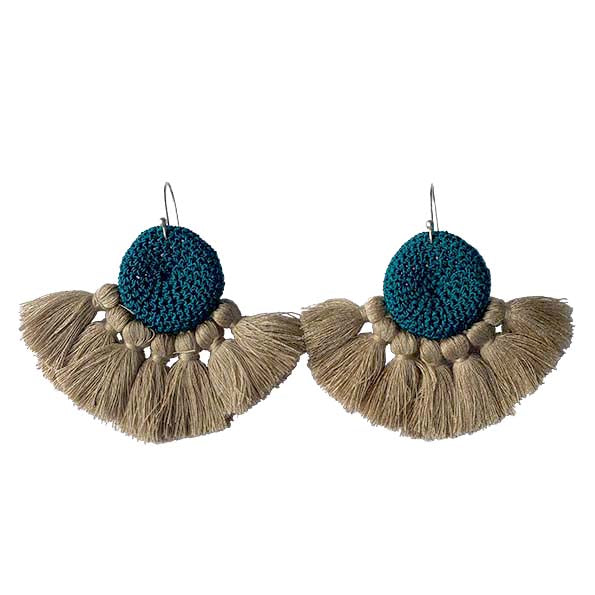 Turquoise & Straw - Crochet Earrings