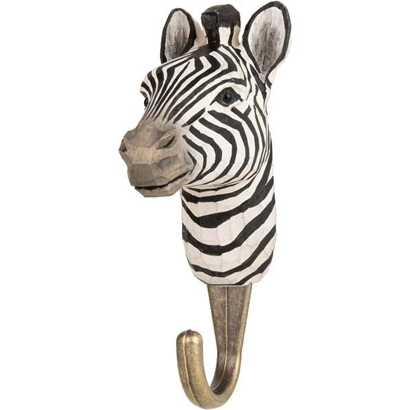 Zebra Carved Animal Hook