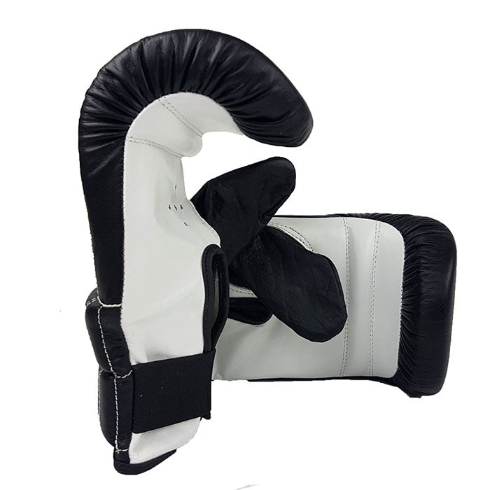 Leather boxing bag mitts with elastic wrist