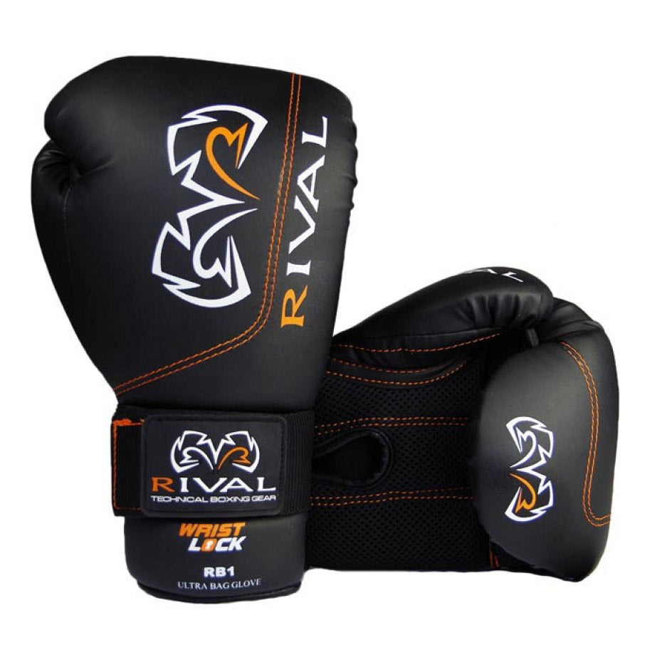 Rival RB1 Ultra Bag Gloves 2.0 Black Pads Mitts Boxing Training Bag Pad Gloves