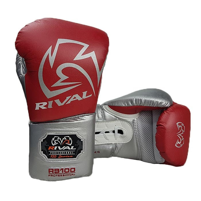 Rival Boxing Gloves RS100 Red Silver Professional Sparring Training Workout
