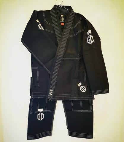 Mix matched Jiu Jitsu Gi: A2 Top / A3 Bottom, Black, Gold Weave