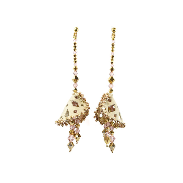 AMEERA LARGE PEARLISED GOLD ROSE EARRINGS