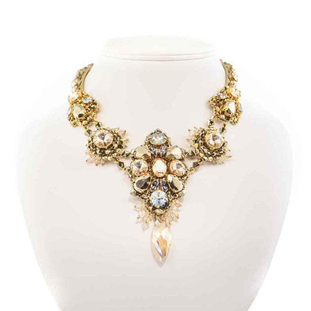 BRIANNA NECKLACE GOLD/BLUE CRYSTAL