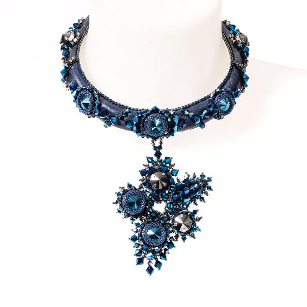 EVETTE SMALL COLLIER METALLIC BLUE