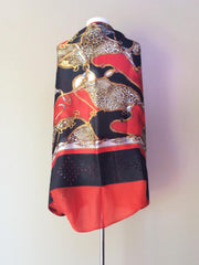 SILK & LEATHER SCARF RED/BLACK