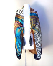SILK & LEATHER SCARF TAN SWIRL/BLACK LEATHER