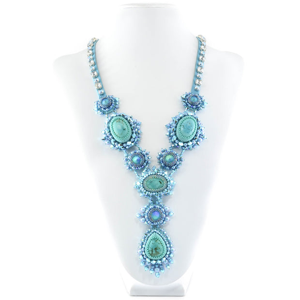 MIKALA STATEMENT NECKLACE & EARRINGS TURQUOISE
