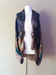 SILK & LEATHER SCARF DEEP GREEN/TAUPE