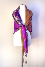 SILK & LEATHER SCARF PURPLE/TAN