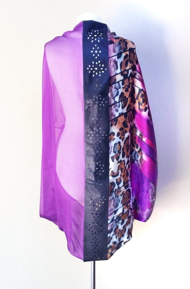 SILK & LEATHER SCARF PURPLE/BLACK