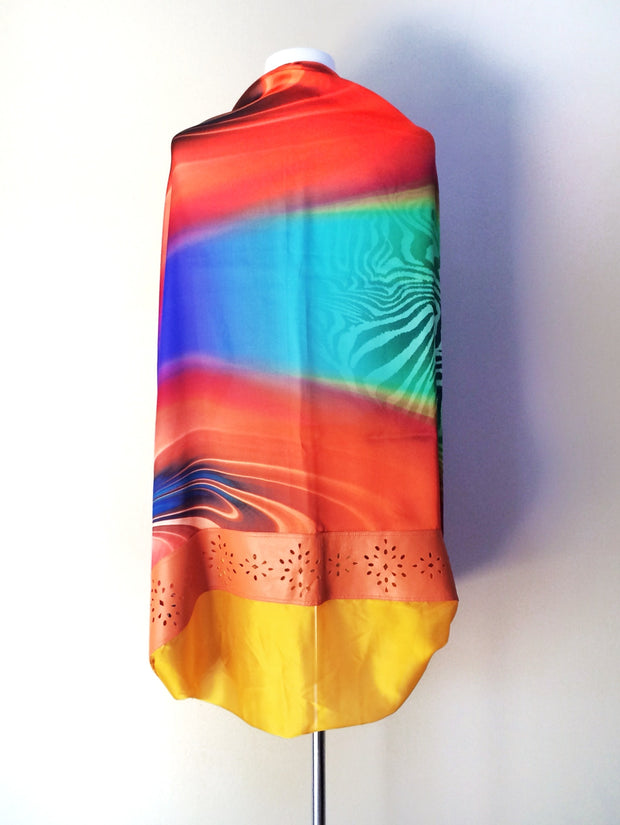 SILK & LEATHER SCARF ORANGE/YELLOW