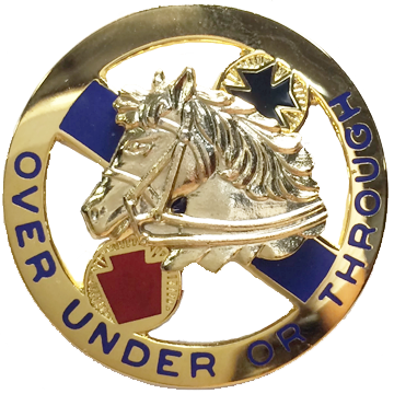 "104th Cavalry Regiment Distinctive Unit Insignia DUI ""OVER UNDER OR THROUGH"""