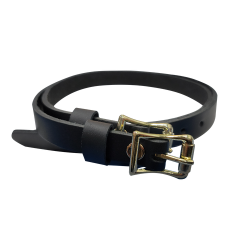 Black Leather Spur Straps (for 1885 Spurs) - Gold Buckle