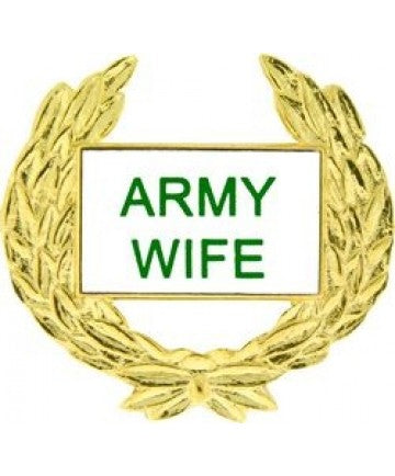 Army Wife Gold Wreath Pin