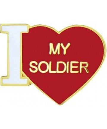 I Love My Soldier Pin 3/4""