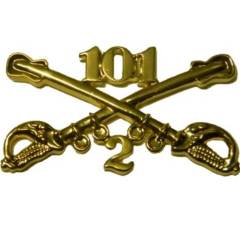 2-101 Cavalry Custom Crossed Sabers - Standard Size 1-1/2""""