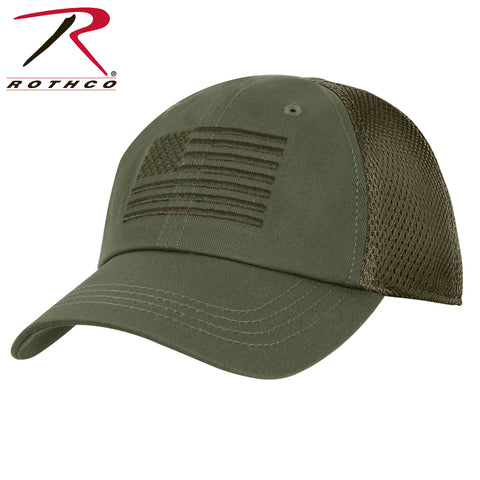Tactical Mesh Back Cap With Embroidered US Flag - Olive Drab