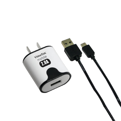2 amp home charger with 3.2 foot micro USB cable