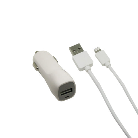2 amp car charger with 3.2 foot lightning cable