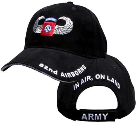 82nd Airborne Military Cap - Jump Wings - Black